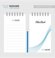 company design note book with blue theme with vector image