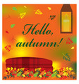 cozy autumn with plaid and candle vector image vector image