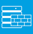 Database and brick wall icon white