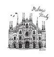 duomo cathedral in milan sketch vector image