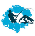 fisherman with a fishing rod and water vector image vector image