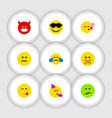 flat icon emoji set of party time emoticon hush vector image vector image