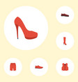flat icons man footwear heeled shoe waistcoat vector image vector image
