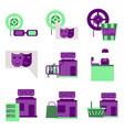 flat icons set cinema vector image vector image