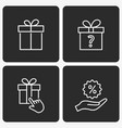 gift box icon set on black background vector image vector image