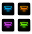 glowing neon air conditioner with fresh air icon vector image vector image