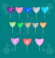 happy birthday heart shaped balloons frame vector image