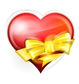 heart with gold bow vector image vector image