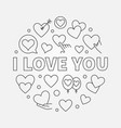 i love you round linear concept vector image