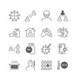 icons set coronavirus covid-19 thin line design vector image