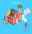 isometric flat concept mortgage real vector image vector image