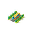 isometric front right view bus vector image vector image