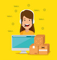 logistic services with support agent and computer vector image vector image