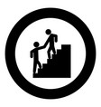 man helping climb other man black icon in circle vector image vector image