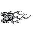 monochromatic head bull with flames vector image vector image