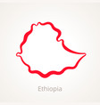 outline map of ethiopia marked with red line vector image vector image