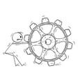 person dragging big cogwheel concept problem vector image