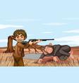 scene with man hunting gorilla vector image