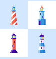 sea lighthouse icons set in flat style vector image vector image