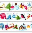 Seamless borders with winter objects Merry vector image