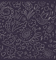seamless pattern outline doodles bird flowers vector image vector image