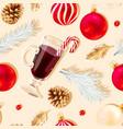 seamless pattern with glass mulled wine vector image