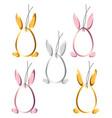 set 5 easter hangtags eggs bunny ears feet frame vector image vector image
