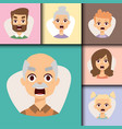 set angry emoticons face of people fear vector image