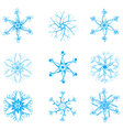 set of original snowflakes for your design vector image
