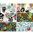 Six cards with floral patterns vector image