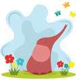sweet baelephant with butterfly and flowers vector image vector image