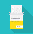 tablets in blister pack with paper box packaging vector image vector image