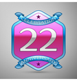 Twenty two years anniversary celebration silver vector image vector image