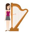 woman playing harp character vector image
