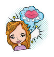 woman with mouth and speech bubble pop art style vector image vector image