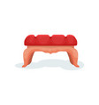 wooden bench with red velvet upholstery interior vector image vector image