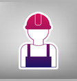 worker sign purple gradient icon on white vector image vector image