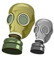 Old rubber gas mask on white background vector image