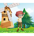 A happy boy near the wooden signboard and the vector image vector image