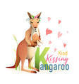 animal abc letter k is for kissing kangaroo vector image