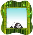Bamboo frame and panda vector image vector image