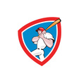Baseball Player Batting Crest Red Cartoon vector image vector image