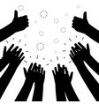 black clapping hands silhouettes isolated vector image vector image