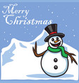 christmas greeting card template snowman cartoon v vector image