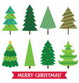christmas trees isolated set vector image vector image