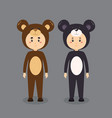 cute character wearing bear costume vector image vector image