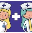 cute female medical team cartoon vector image