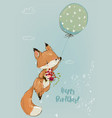 cute fox with balloon collection vector image vector image