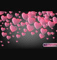 festive of falling red hearts vector image vector image