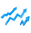 financial indication arrows up blue shiny 3d vector image